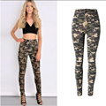 European British style women pure cotton camouflage jeans fashion sexy elastic high waist zipper hole boyfriend denim pants D223