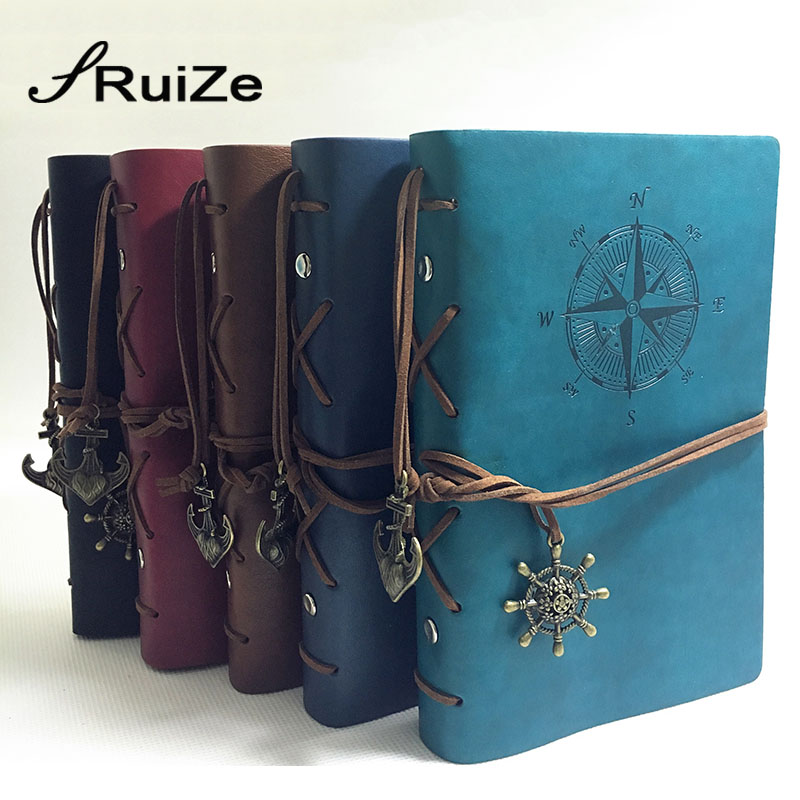RuiZe 2016 hot travel journal notebook vintage leather sketchbook diary blank note book A5 binder 6 ring can be engraved kicute vintage scrapbook leather cover travel notebook journal diary blank kraft paper a5 spiral string nautical 6 ring binder