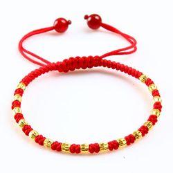 16 pcs Emas murni 24 K Kuning Emas Bead Jalinan Gelang Bangle 16 cm Panjang