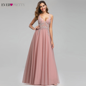Image 3 - Elegant Prom Dresses Ever Pretty Sexy Pink Beaded V neck A line Illusion Evening Party Gowns EP00901 Gala Jurken Dames 2020