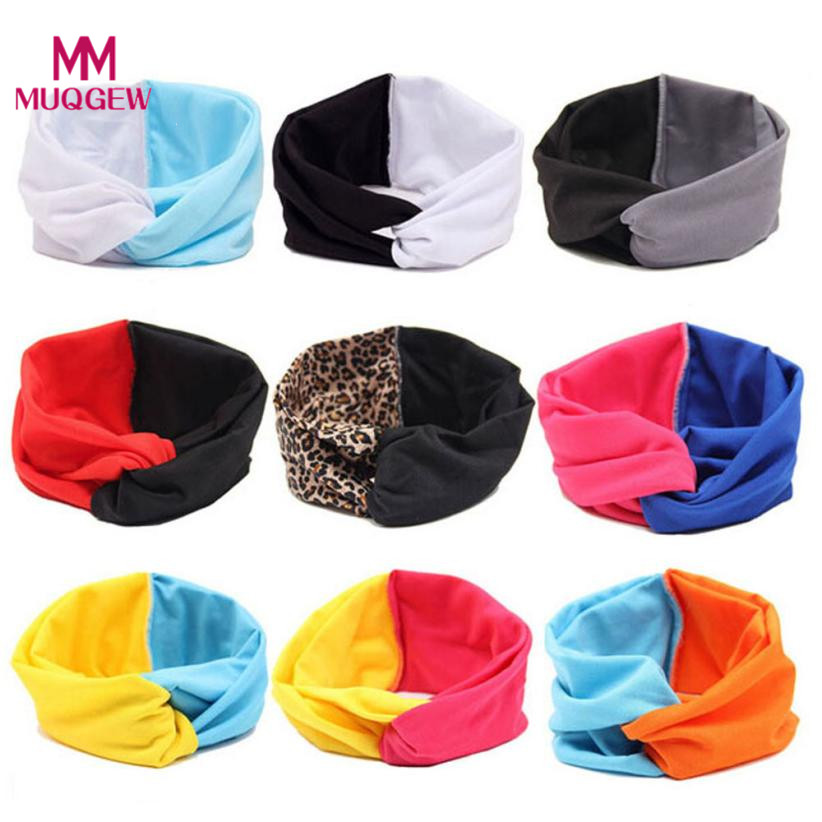 MUQGEW Women Double Color Cross Sport Yoga Cloth Headband Turban Headscarf Wrap turbante Causual adult Headwear