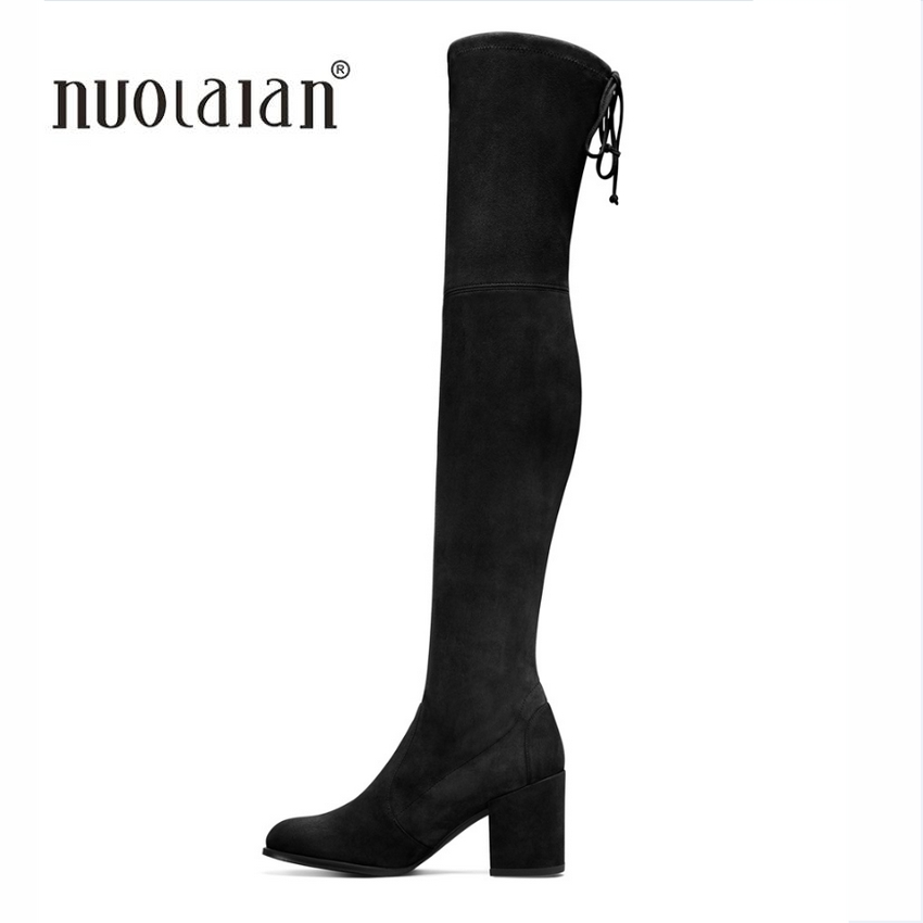 2017 Autumn Winter Women Boots Stretch Faux Suede Slim Thigh High Boots Fur Warm Over the Knee Boots High Heels Shoes Woman fashion women boots knee high elastic slim autumn winter warm long thigh high knitted boots woman shoes or935432