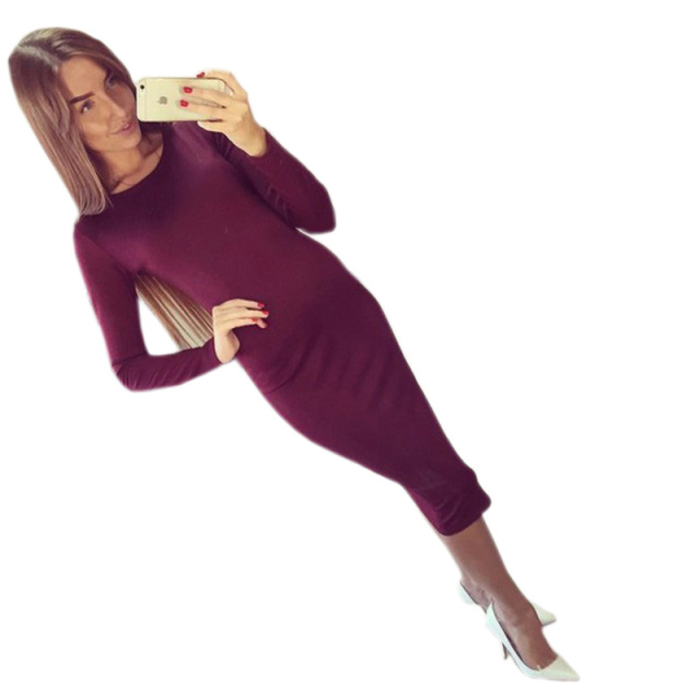 Long Sleeve Knee Length Midi Dress Slim Bodycon Black Wine Red
