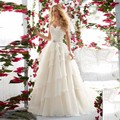 2016 Spring New Chiffon Ruffles Appliques with Crystals A-line Girls Wedding Dresses White Charming Robe De Mariage Vestidos