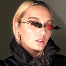 LongKeeper Vintage Rimless Sun Glasses Women New Brand  Fire Flame Sunglasses Men Fashion Mirror Lens Eyewear UV400 Gafas De Sol