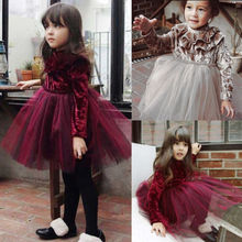 Brief Lovely Lace Princess Kids Baby Girls Dress Velvet  Fleece Gown Party Tulle Tutu for newborn infant clothes children