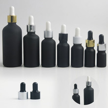 200pcs/lot 10ml frost black glass essential oil dropper bottle 1/3oz drop vials