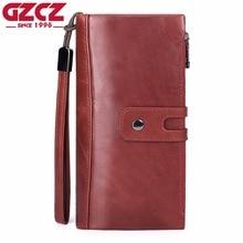 Купить с кэшбэком GZCZ Women Wallets And Purses Genuine Leather Long Walet Zipper Design Luxury Brand Money Bag Large Capacity Coin Phone Holder