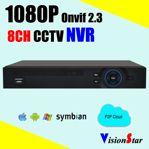 H.264 Onvif Network 8ch NVR 1080P real time RJ45 P2P cloud support Iphone Android system mobile view 8ch 5mp 3mp 1080p h 264 onvif wifi 3g with smart function nvr