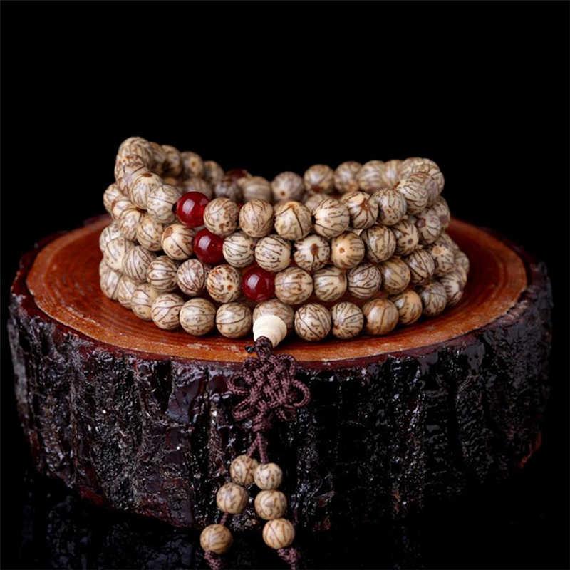 BRO655 Natürliche Silber-linie Bodhi Samen Gebet Mala Armband Buddhismus Rosenkranz