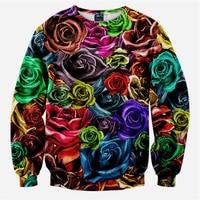 2017 Nowych Moda 3D Drukowane Kolorowe Wzrosła Bluzy Bluza Kobiety/Mężczyźni Hip Hop Harajuku Męskie Swetry i Bluzy Sweat Homme