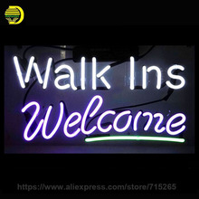 Walk Ins Welcome Neon Sign Glass Tube Neon Recreation Handcrafted Indoor Night Lamp Frame Sign Store Display Iconic 17×10