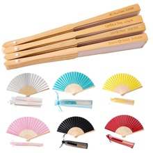 Fans Hand-Fan Wedding-Gift Personalized Engraved Customized Vintage 50pcs Silk