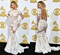 Michael Costello 2014 Grammy Awards Red Carpet Celebrity Dresses Applique Long Sleeve Backless Mermaid Evening Gown XY153