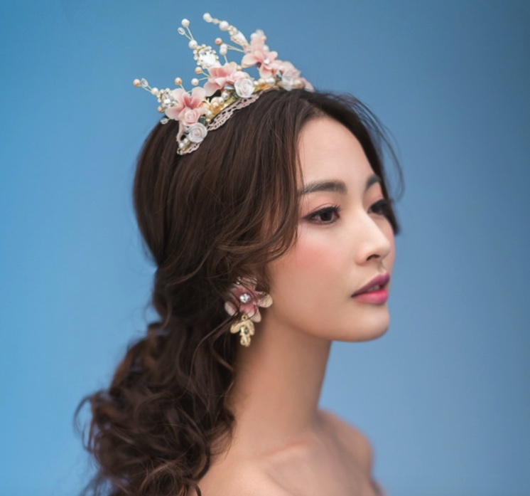 SG265 Hand beaded Baroque Crown +Earrings Clip Lace Gold Ceramic ...
