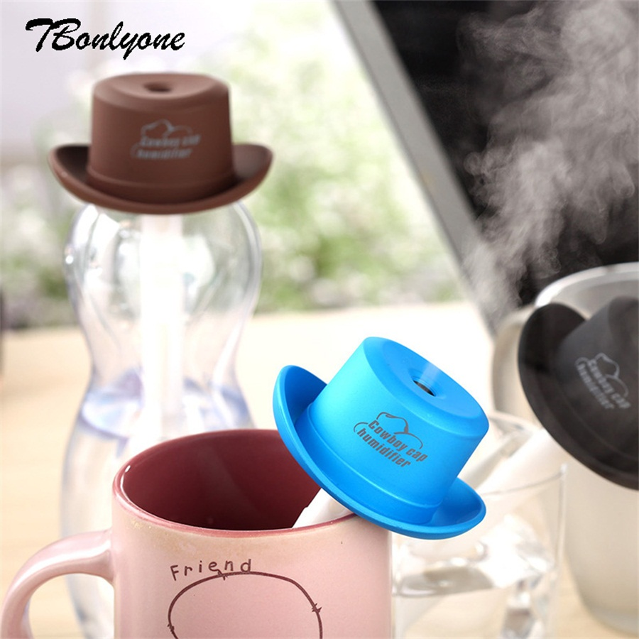 Unqiue Cowboy Hat Shape Humidifier With High Frequency Atomization Ultra Quiet Ultra Fine Mist Maker