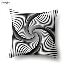 Hongbo Geometry Pillow Case Abstract Black White Striped Dotted Grid Geometric Art Cases Cover almohada