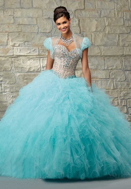 081ec74268 2017 Stunning Amazing Ball Gown Puff Light Blue Rhinestone Quinceanera  Dresses with Jacket vestidos de 15 anos