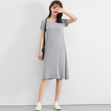 Casual modal short-sleeved loose dress with a bottom skirt and wild free shipping