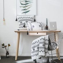 New Nordic Black White Knitted Blanket Throw Plaids Knit Blankets Bedding Sofa Cover Same Style Cushion Pillow Set