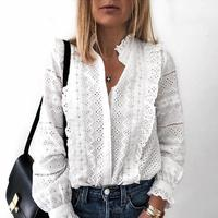 2019 Spring Women Elegant Fashion Casual Blouse Solid Hollow Out Frills Detail Casual Shirt