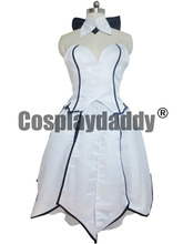 Fate Stay Night Saber Lily White Sexy Lolita Evening Dress Cosplay Costume