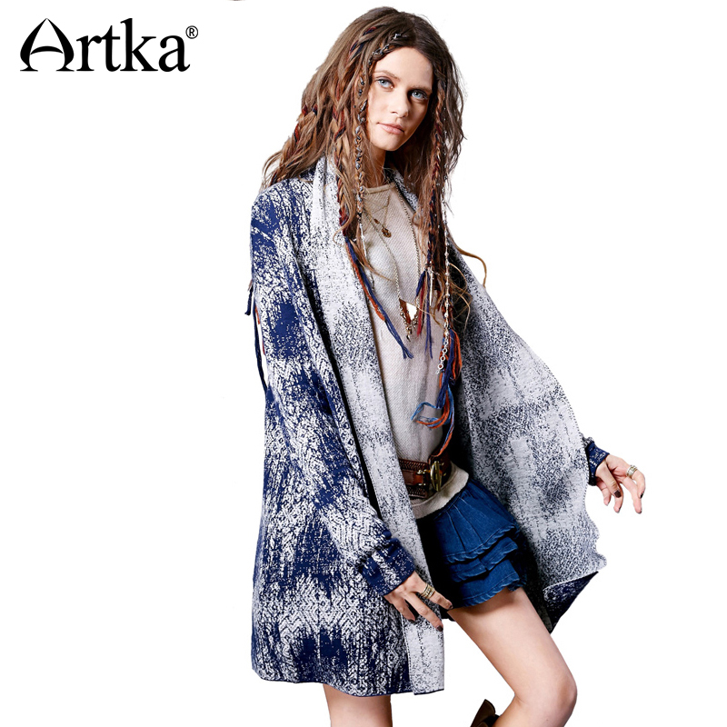 Artka 2018 Autumn New Female Simple Jacquard Split Off Shoulder Sleeves Thick Warm Cardigans Sweater 2 Color WB11865Q ...