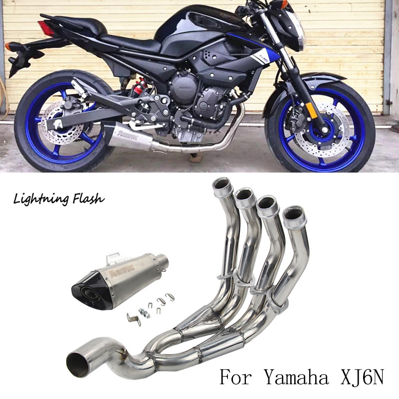 For Yamaha XJ6N Motorcycle Exhaust System Stainless Steel Header Link Pipe Tail Escape with Removable DB Killer Slip On Modified