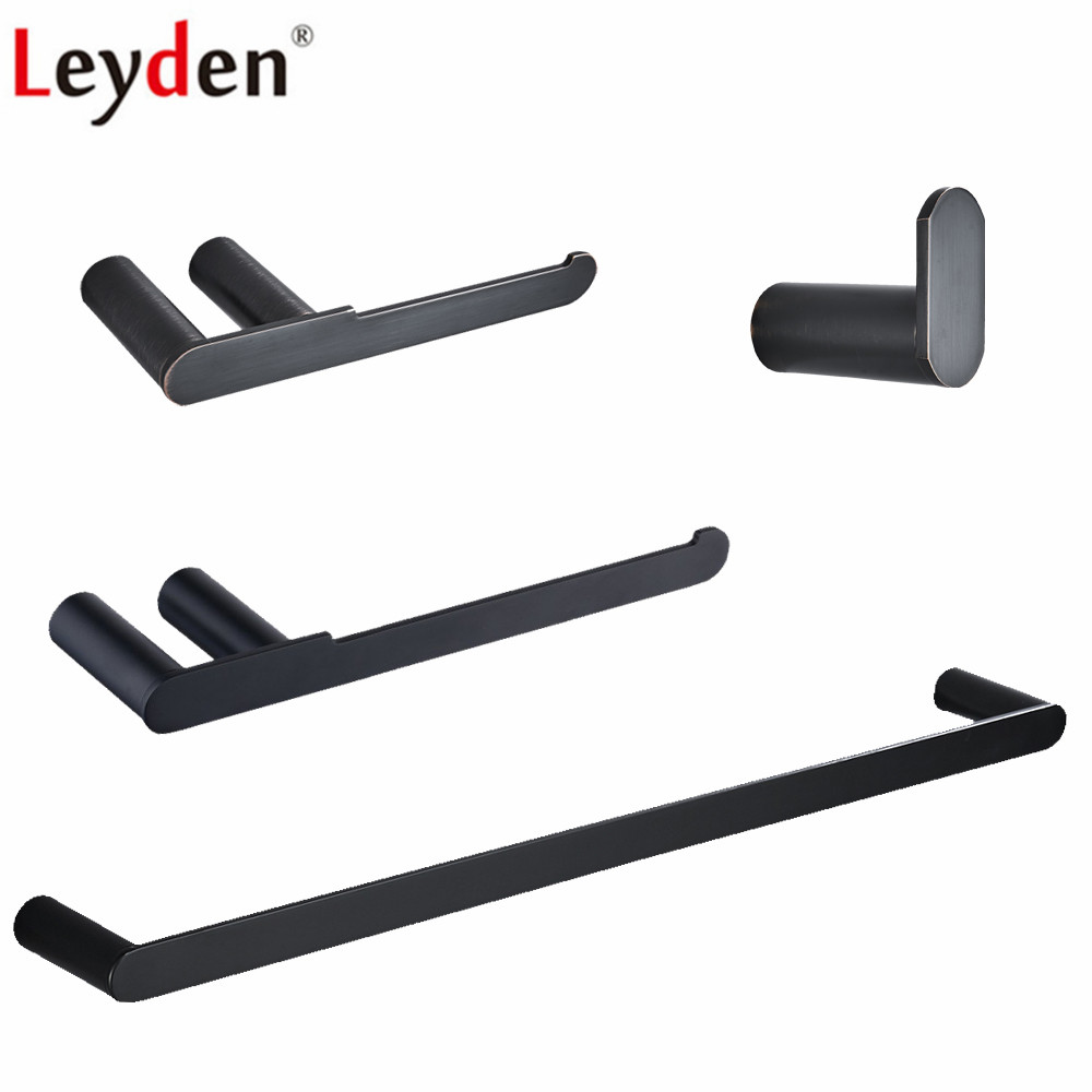 Leyden Blackened Chrome Brushed 4pcs Bathroom Accessories Set 304 Stainless Steel Towel Bar Toilet Paper Holder Robe Hook leyden sus 304 stainless steel bathroom hardware set brushed nickel paper holder towel bar robe hook bathroom accessories bath
