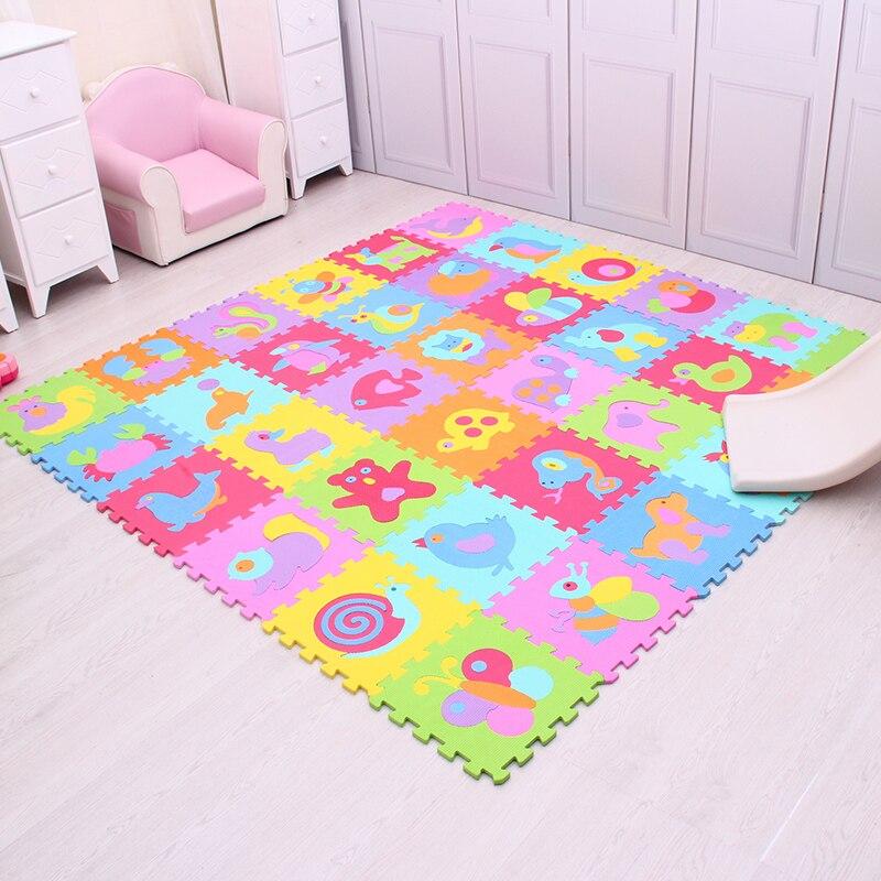 Tapis de jeu de motif Animal de bande dessinée pour enfants tapis de Puzzle en mousse EVA tapis de rampement pour bébé tapis de jeu de sol souple Mei Qi Cool