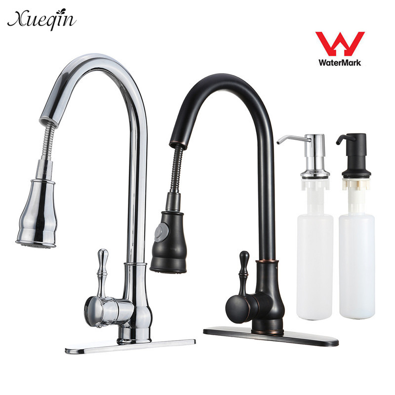 Xueqin Watermark&Wels Stainless Steel 18Inch Pull Down Kitchen Sink Faucet With Soap Dispenser cheaper stainless steel liquid soap dispenser kitchen sink soap box free shipping chrome finished