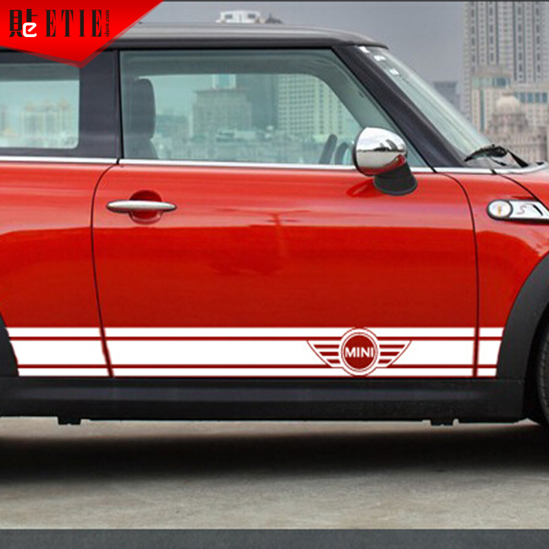 Etie car styling mini cooper side skirt vinyl stripes sticker decals automobiles adhesive 3m vinyl wrap