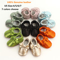 100% Genuine Leather Baby Moccasins Bling Newbron Baby Shoes Mirror Surface Soft Bottom Bow Baby Boys Girls Shoes First Walkers