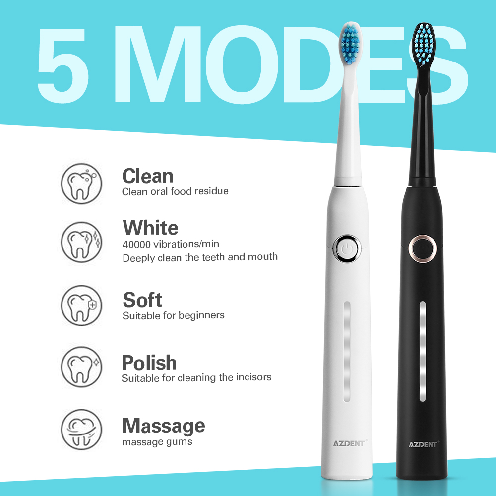 AZDENT AZ 9 Pro Sonic Electric Toothbrush Rechargeable USB Charger 3Pcs Replaceable Heads Ultrasonic Waterproof Timer 5 Modes in Electric Toothbrushes from Home Appliances