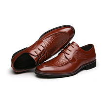 Crocodile Style Men's Dress Business Shoes Luxury Brown Black Leather Party Social Shoe New Design Fashion(China)
