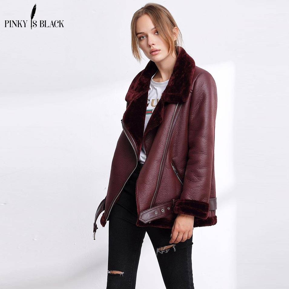 Pinky Is Black 2018 PU   Leather   Jacket Women Warm Faux Fur Inside Collar Coat Fashion Moto Oversized Zipper Pocket Sashes Jackets