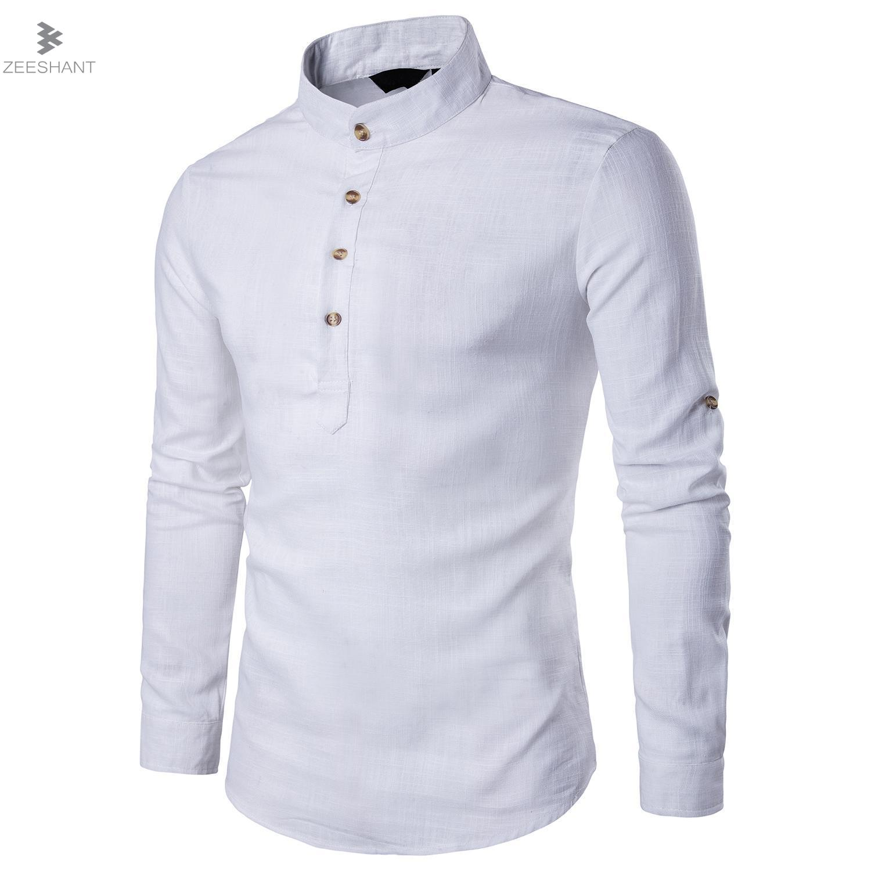 55208026b8 Zeeshent camisa hombre chemise Homme Lino Camisas hombres manga larga blusa  mandarín collar Tops marca ropa casual Camisa XXL en Camisas casuales de La  ropa ...