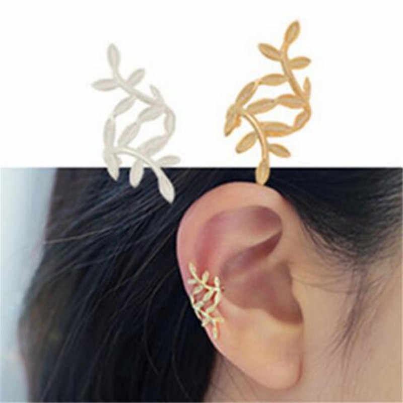LUSION Metal leaf Hoop Earring for Woman Fashion Jewelry 1pcs Vintage Ear clip Cheap Korean Earrings Gift New Sales Christmas