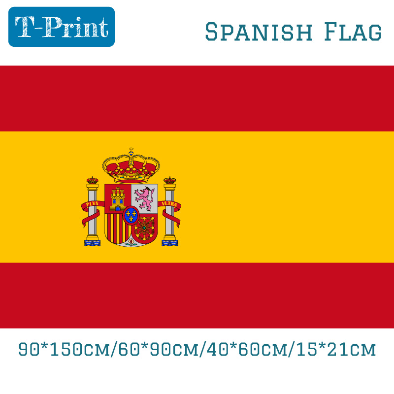 Free shipping 90 150cm 60 90cm 40 60cm 15 21cm Spanish Flag Polyester Spain National Flag Banner in Flags Banners Accessories from Home Garden
