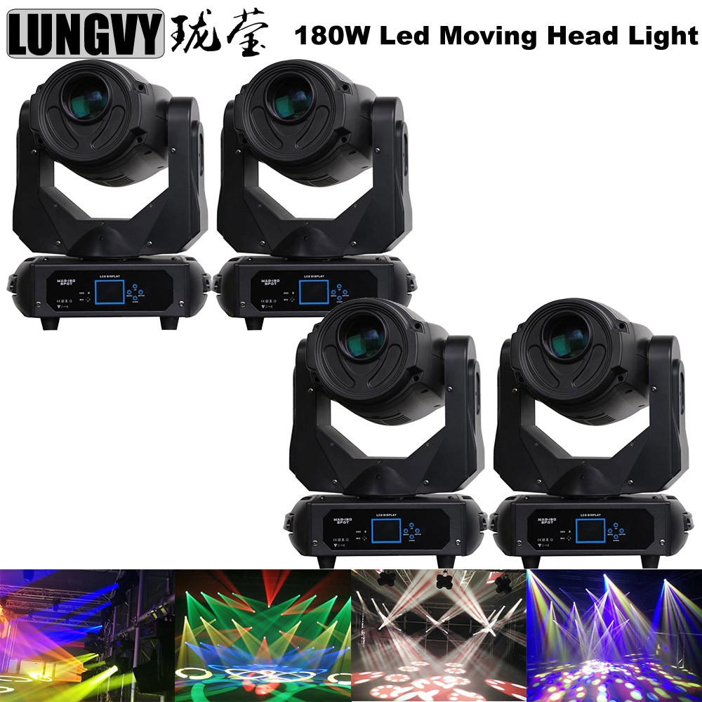 Free Shipping 4pcs/Lot Best Effect 180W Led Lyre Moving Head Light Same Power Output Pan 540/Tilt 270 Degree Lens/3 Prism