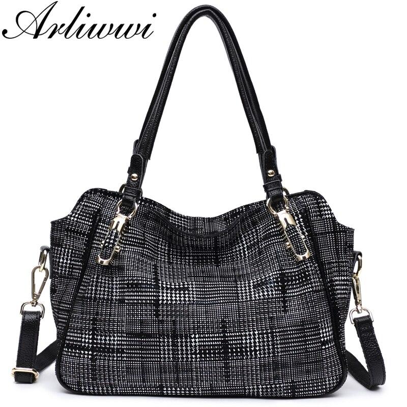 Brand New Fashion Soft Real Genuine Leather Plaid Designer Women's Handbag Lady Lattice Shoulder Tote Messenger Bag GL14