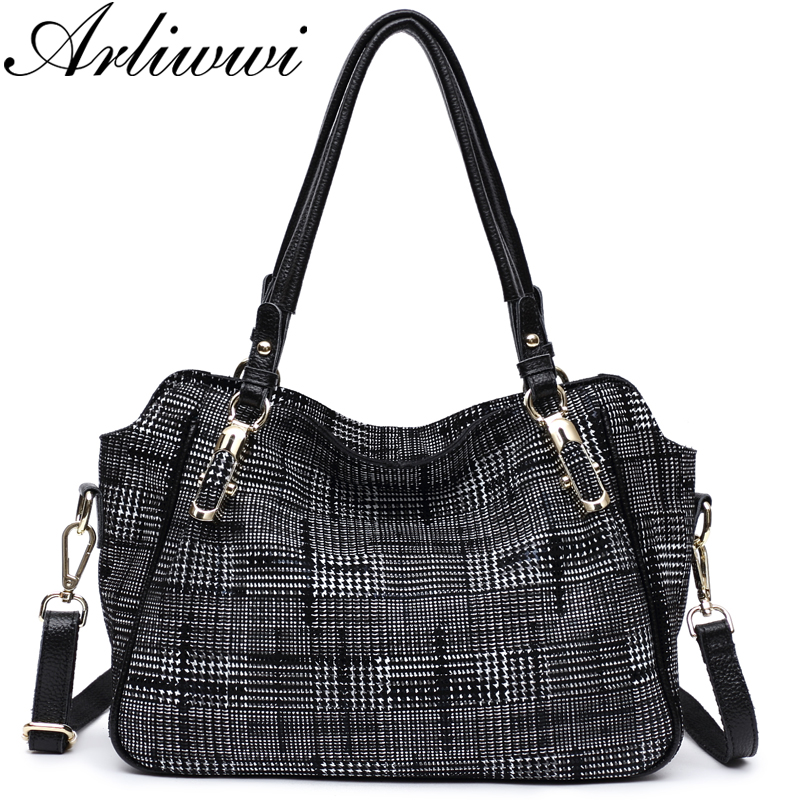 Arliwwi Brand New Fashion Soft Real Genuine Leather Plaid Designer Women's Handbag Lady Lattice Shoulder Tote Messenger Bag
