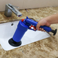 Home Sink Pipe Clog Remover High Pressure Air Drain Blaster Gun Pipe Cleaning Pump Sink Toilets Bathroom Kitchen Cleaner Kits