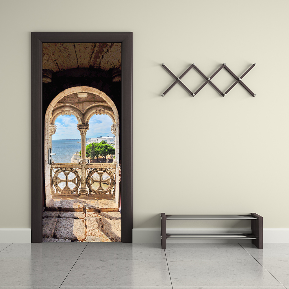 Creative 3D Portuguese Sea View Pattern Door Stickers Wallpaper Accessories Wall Sticker living Room Bedroom Home Decoration