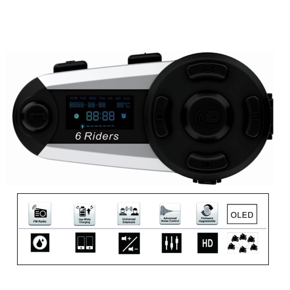 1200M Bluetooth Intercom Motorcycle Helmet Interphone Headset High Power Wireless Bluetooth Headset Interphone With FM Radio