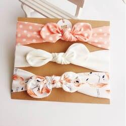 3 шт. милые заячьи ушки Детские повязка на голову Neonata лук эластичный с цветочным принтом Haarband детские повязки на голову для девочек Детские