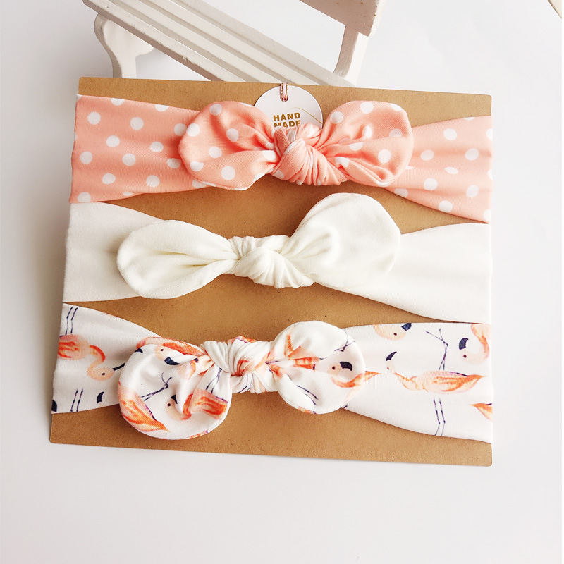 3Pcs Cute Rabbit Ear Baby Headband neonata bow flower Elastic Baby Girls Head bands Children Turban hair Accessories Hair Set 7 fashion boutique grosgrain ribbon organza breast cancer printed cheer bow with elastic hair bands for cheerleading girls
