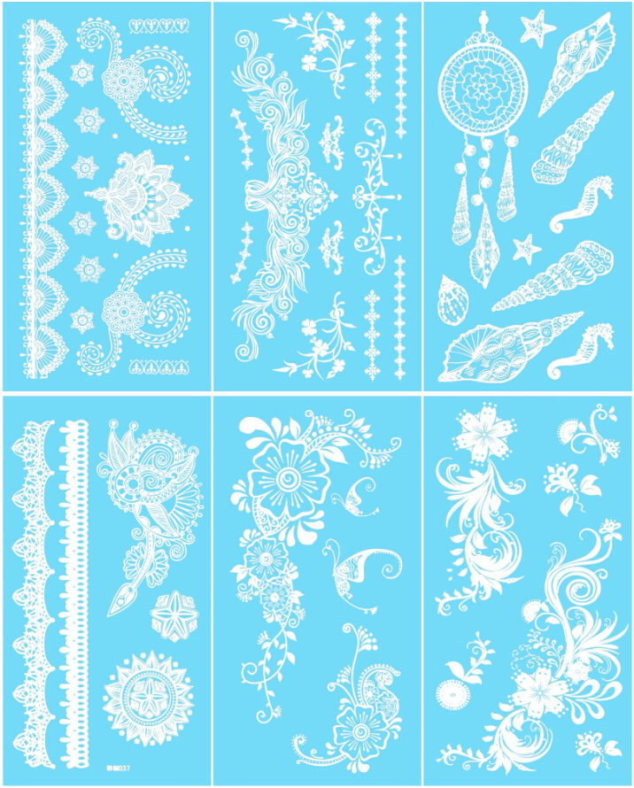 6sheets Utsökt Butterfly White Henna Tattoo Sticker Feather Henna Flower Tillfällig Tatoo Body Art for Women Tatuagem