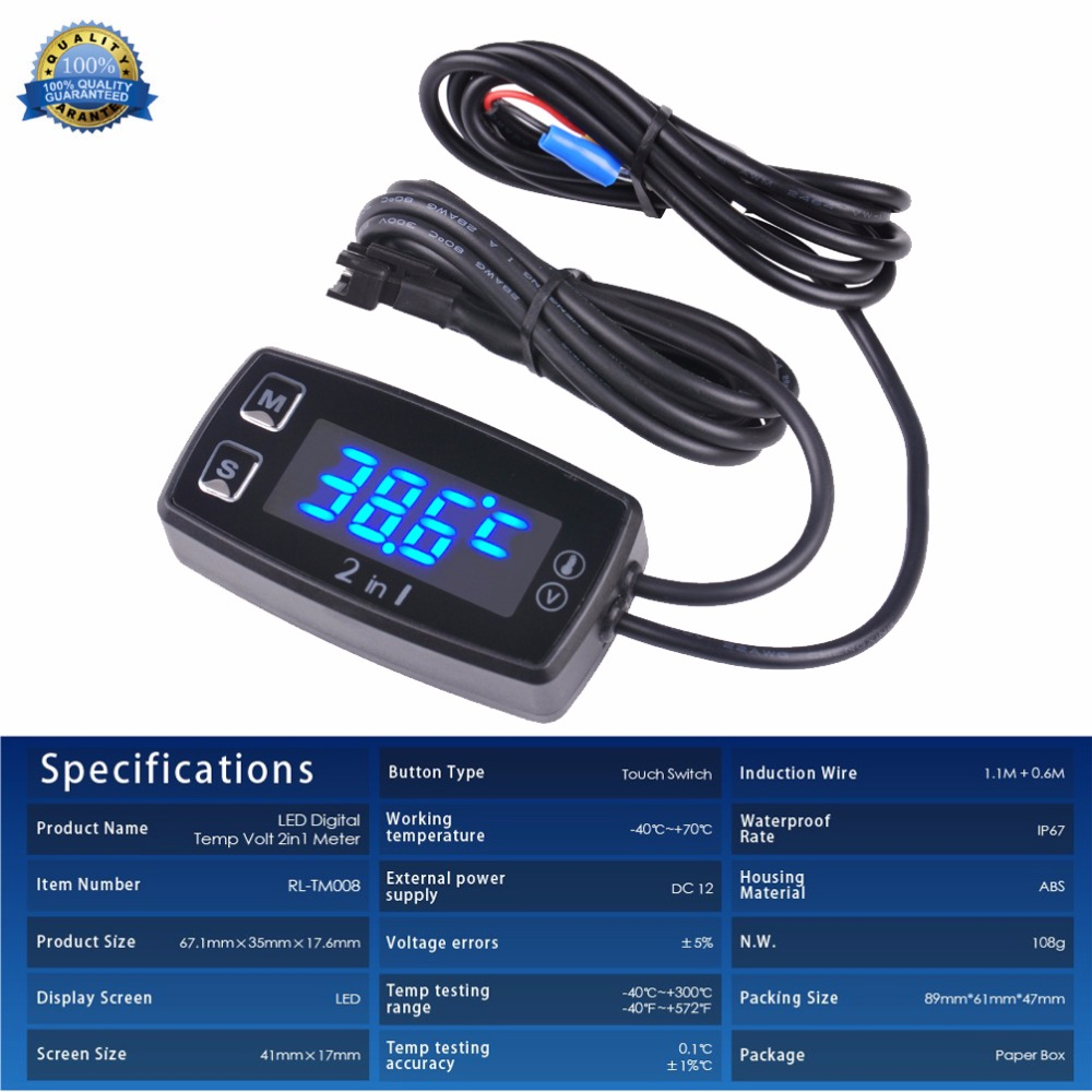 Digital LED Thermometer Voltmeter Temperature Meter for pit bike ATV outboard glider lawn mower boat marine