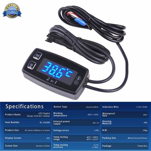 Digital LED Thermometer Voltmeter Temperature Meter for pit bike ATV outboard glider lawn mower boat marine TM008